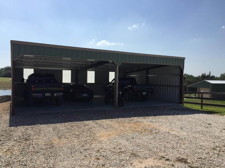 Residential steel metal building erector contractor for 2 bay carport